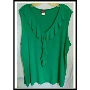 Dots Tops - New!🎉🎇Plus Ruffled Sleeveless Dress Blouse