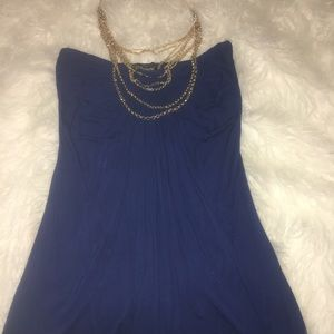 Navy Sky Dress w/ Gold Chain Necklace attached