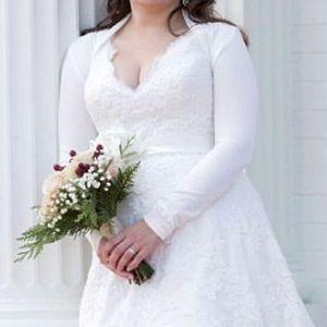 PattyBoutik Sweaters - Ivory Jersey Wedding Bolero Shrug