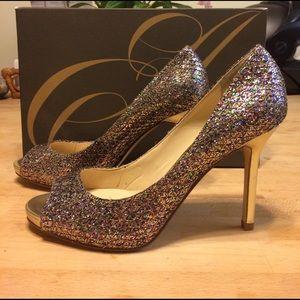 Enzo Angiolini Shoes - Enzo Angiolini Gold Glitter Heels Stilettos Size 6