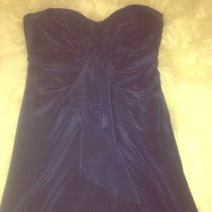Strapless Navy Ruffled front mini dress