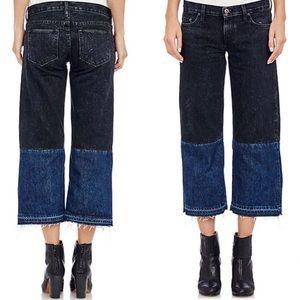Simon Miller Denim - Simon Miller Hiko two tone cropped wide leg jeans