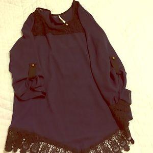 Blue Lace Trim Shirt