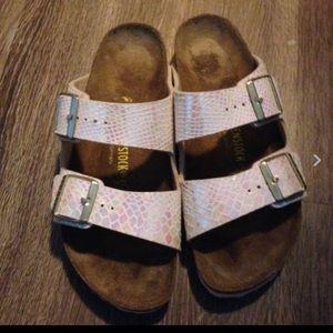 Birkenstock Shoes - Birkenstock Arizona cream shiny snake sandals 40=9