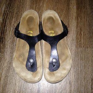Birkenstock Shoes - Birkenstock Gizeh black birko-flor sandals 40=9