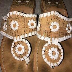 Jack Rogers Shoes - Cork and White/Gold Jack Rogers