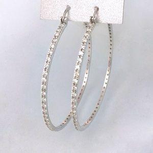 genuine 925 sterling silver 4mm CZ hoop earrings