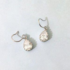 925 sterling silver pear teardrop CZ earrings