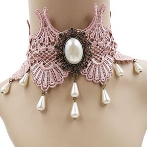 Jewelry - NWOT Unique Pink Lace Victorian Inspired Choker