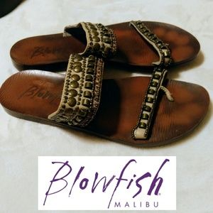 Blowfish Shoes - Metal Studded Beaded Sequin Strap Sandals