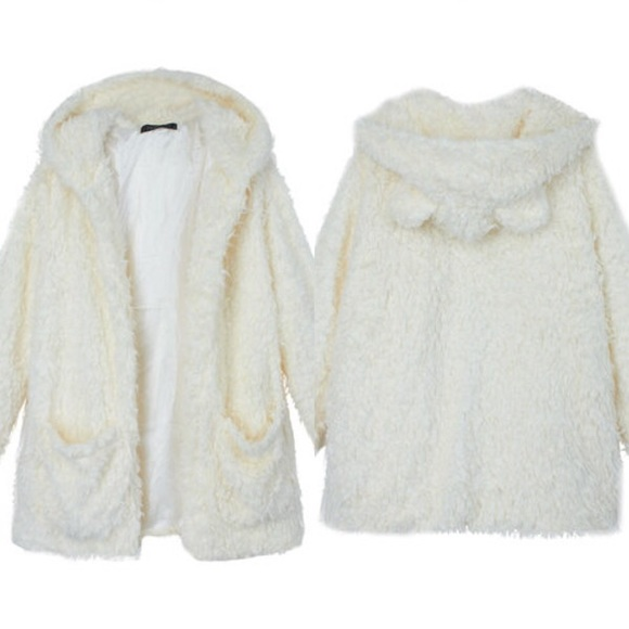 Jackets & Blazers - White furry / fluffy jacket with animal ears