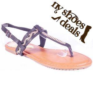 Victoria K Shoes - Women Black Slingback Thong Flat Sandals S1939