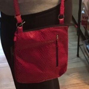 Handbags - Marilyn Red 💋 Snakeskin Feel Crossbody
