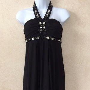 City Studio Dresses & Skirts - City Studio Black Beaded Halter Dress M