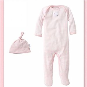 Burt's Bees Baby Other - Bee Essentials Footie Coverall & Knot Top Hat Set