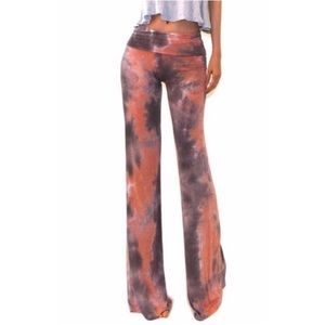 Coral Brown Tie Dye Pants