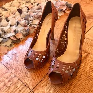 Franco Sarto Shoes - Brown leather peep-toe stilettos by Franco Sarto