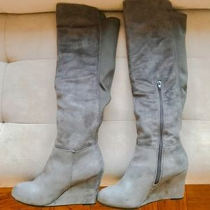Chinese Laundry Shoes - Mid/Over the knee gray suede boot w/ wedge heel!