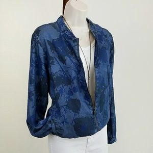 Juicy Couture Jackets & Blazers - Juicy Couture blue chambray floral bomber jacket
