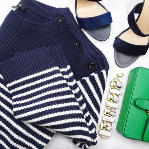 Nautical Striped Button Detail Sweater