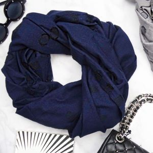 Navy Embroidered Dot Scarf