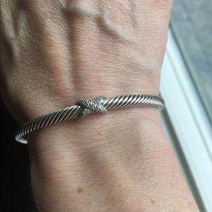 David Yurman Jewelry - David Yurman Pave Diamond X Cable Bracelet- 5mm