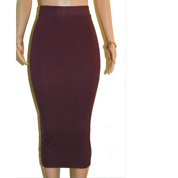 7d240f17b2b Burgundy Extra Long Midi Ponte Pencil Skirt