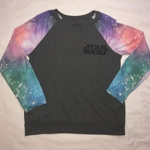 Star Wars Sweaters - Star Wars Galaxy Colorful Print Crew Pullover