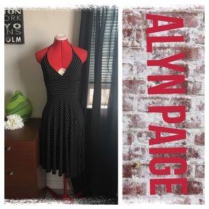 Alyn Paige Dresses & Skirts - Alyn Paige blk/wht stripe halter dress