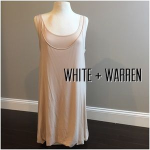 White + Warren Dresses & Skirts - NWOT White + Warren tan layered tank dress