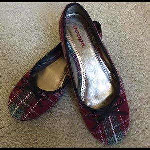 Bongo Red Plaid Flats