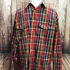 Wrangler pearl snap long sleeve western shirt