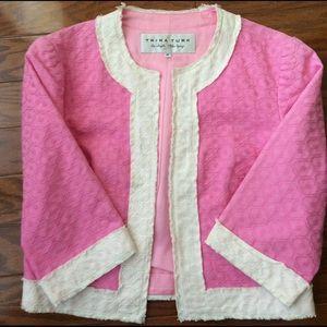 Trina Turk Jackets & Blazers - Trina Turk Cropped Pink Jacket Raw Edges