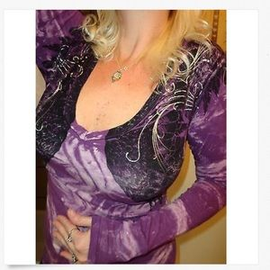 Sinful Tops - SINFUL Long Sleeve Low Cut The BUCKLE Angel Top! L