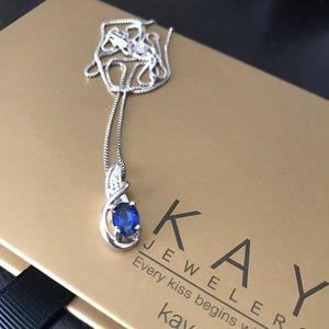 Kay Jewelers Jewelry - Kay Jewelers Blue Sapphire/Diamond Curve Necklace