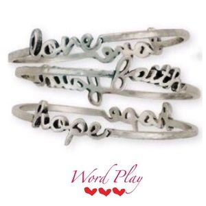 Word Play Faith Hope Love Bangle Set of 3