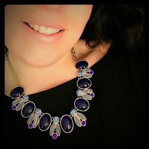 Beautiful blue gemstone statement necklace