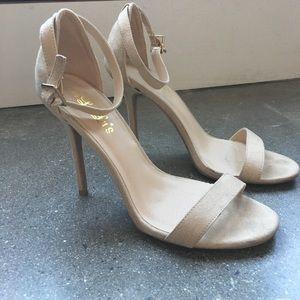Lulu's Shoes - Beige Nude Tan Ankle Strap Sandal Heels Size 9