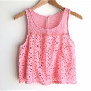 Free People Tops - Free People Pink Crochet Crop Top