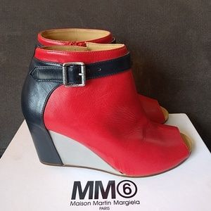 Maison Margiela Shoes - Margiela Colorblock peeptoe wedges size 37.5 New