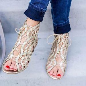 HP BNIB Joie Gold Gladiator Sandals Sz 6.5