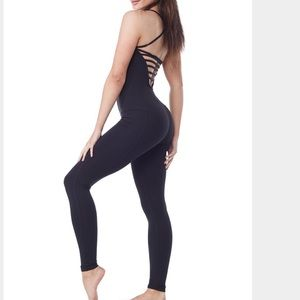 Zobha Pants - ZOBHA Black Strappy Fitted Unitard One Piece