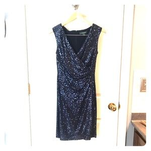 Ralph Lauren navy blue sequin evening dress