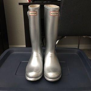 Hunter Other - Kids Hunter Metallic Silver Tall Rain Boots