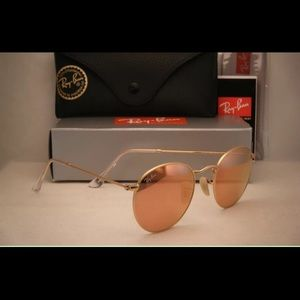 Ray-Ban Accessories - Ray-Ban classic pink lens Matte Gold round frame