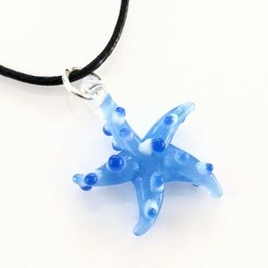 Adorable glass starfish necklace