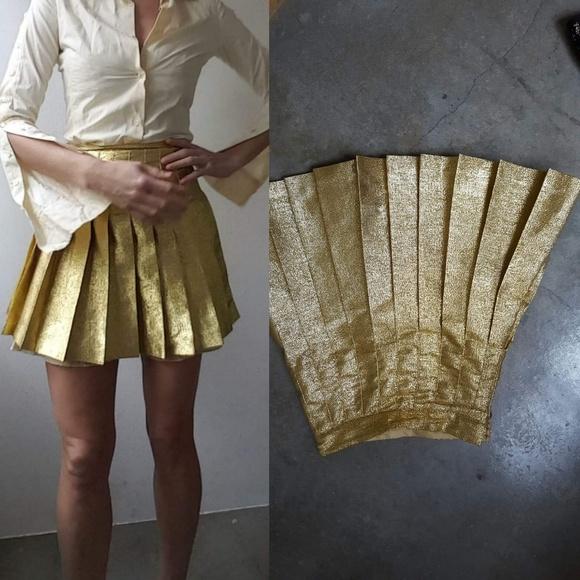American Apparel Dresses   Skirts - AA rare gold metallic pleat high waist skirt  xs f3b72d19c