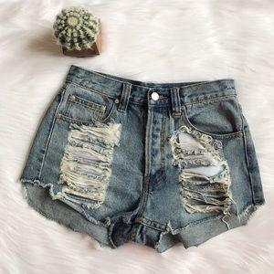 MINKPINK Pants - Minkpink Distressed Shorts