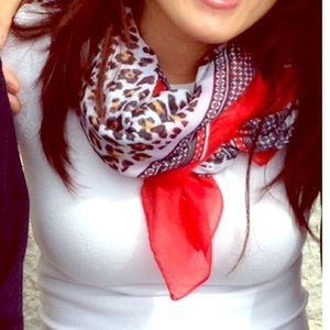 Red/Leopard print scarf