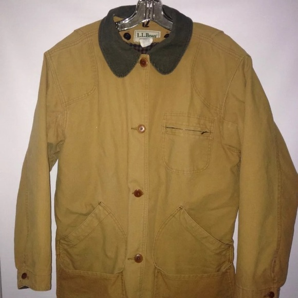 21660654987 L.L. Bean Jackets   Blazers - LL BEAN CANVAS CORDUROY COLLAR FIELD JACKET  vtg